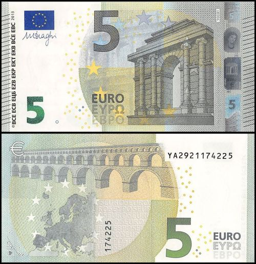 5 Euros banknote colored in green and white