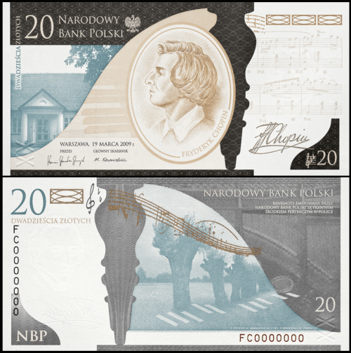 Polish 20 Zloty commemorating the 200th anniversary of the birth of Frederic Chopin