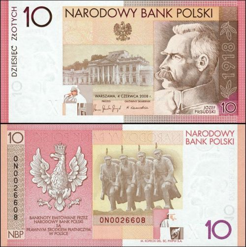 Polish 10 Zloty, 2008 colored in red, yellow and white