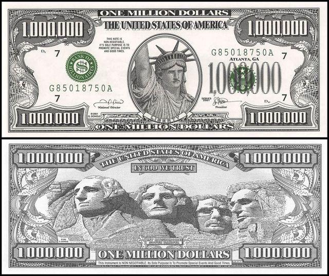 America 26 Million Dollar Novelty / Fantasy, UNC