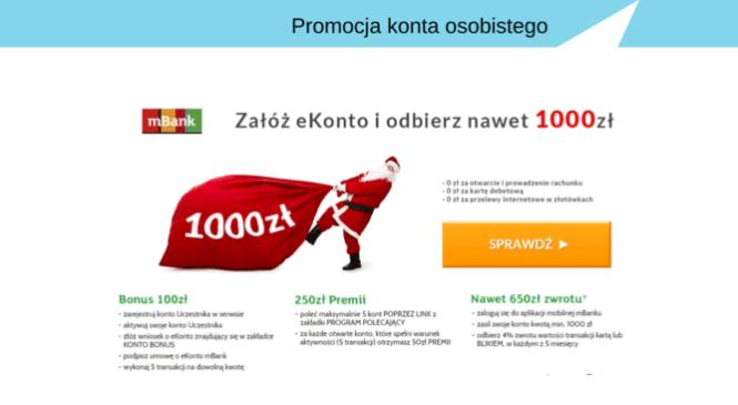 Od 100 zł do nawet 1.000 zł za konto w mBanku.