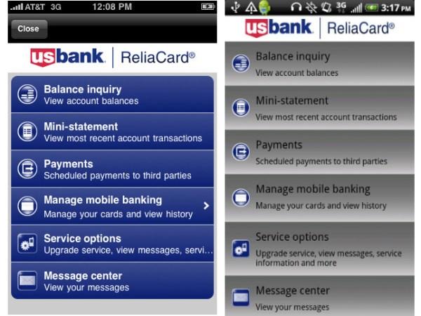 US Bank ReliaCard Mobile App