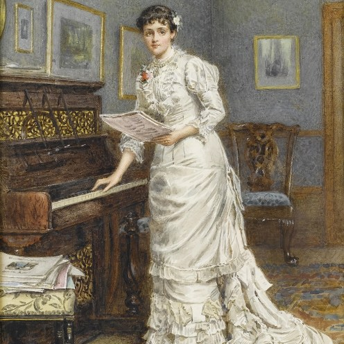 George_Goodwin_Kilburne_A_young_woman_at_a_piano_1880