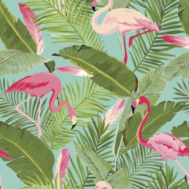 Tropical Seamless Vector Flamingo and Floral Summer Pattern. For Wallpapers, Backgrounds, Textures, Textile, Cards.