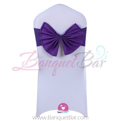 Purple Chair Sashes For Weddings Wheelchair That Climbs Stairs Cadbury Stretch Sash With Bow Tie Sp1cs Bth14 0 99