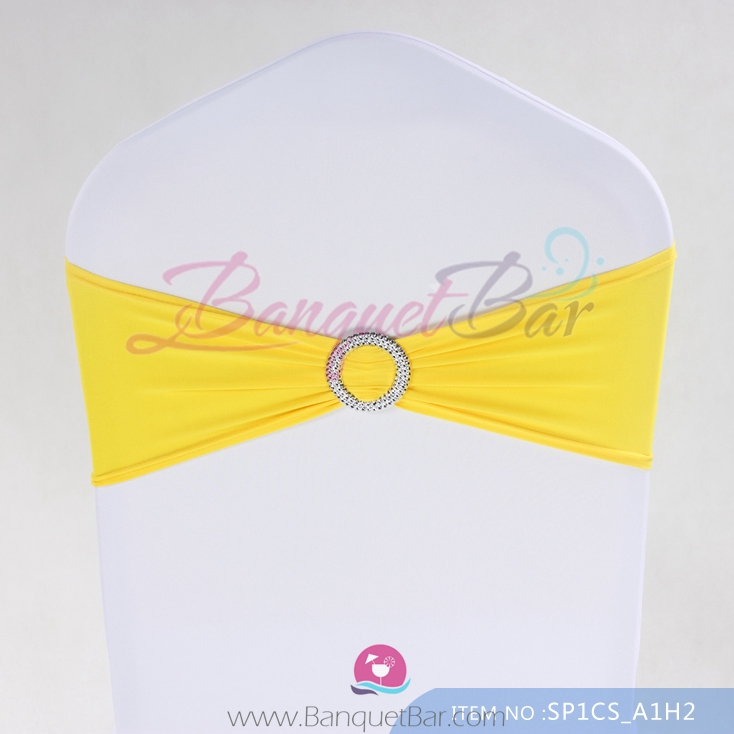 yellow spandex chair sashes swing outdoor patio cocktail table covers stretch for wedding elastic lycra sash
