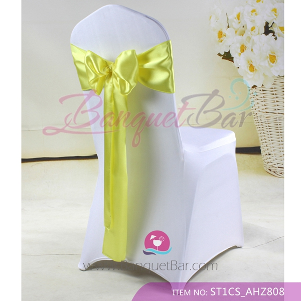 yellow spandex chair sashes chairs for restaurant cocktail table covers stretch wedding elastic lycra sash