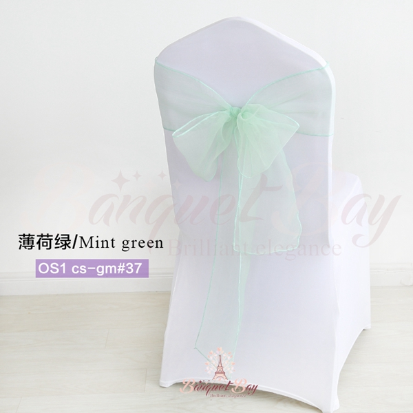green banquet chair covers uw terrace chairs mint crystal organza sash for wedding 0 40