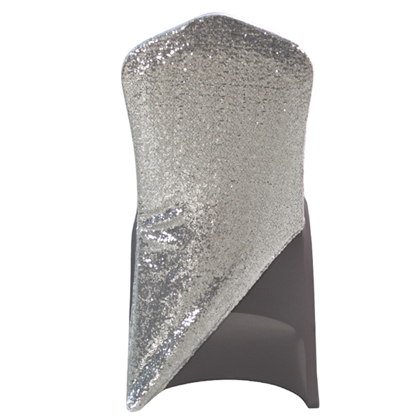 Sequined Silvergrey Spandex Chair cap cover HatSuit Bag