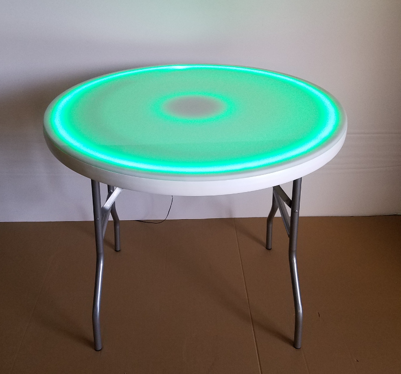 36 Inch Round LED Glow Top Folding Table
