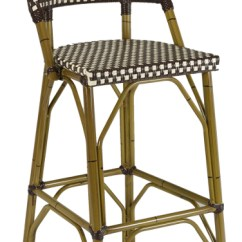 French Rattan Bistro Chairs Plastic Deck Outdoor Bar Stool W/ Bamboo Frame