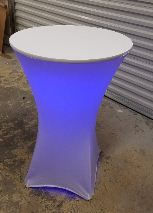 Lighted Cocktail Table w Affixed RGB LED Lights and