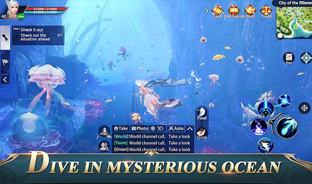 chica nadando por el fondo marino rodeada de peces en perfect world