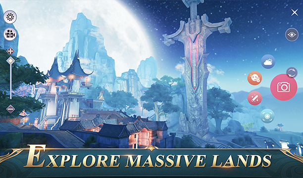 fondio épico con una espada enorme y la luna llena en perfect world