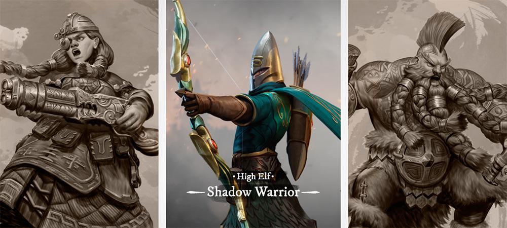 Enana ingeniera con escopeta, alto elfo guerrero sombrío apuntando con un arco, enano asesino gritando con hachas en las manos. Warhammer Odyssey