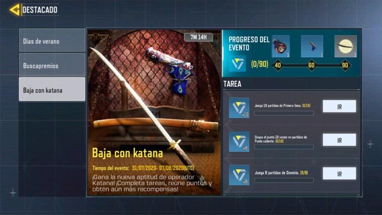 Consigue Gratis La Aptitud De Operador Katana Gratis Con El Evento Baja Con Katana De Call Of Duty Mobile Banwoh