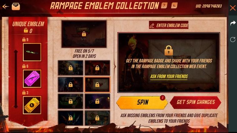 Free Fire gira y colecciona emblemas evento de girar