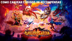 Como canjear códigos recompensa en Runelords Arena