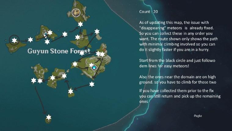 genshin impact estrella desconocida Bosque de Piedra Guyun mapa fragmentos de meteorito