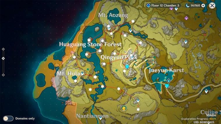 genshin impact estrella desconocida Cima Chingyun mapa fragmentos de meteorito