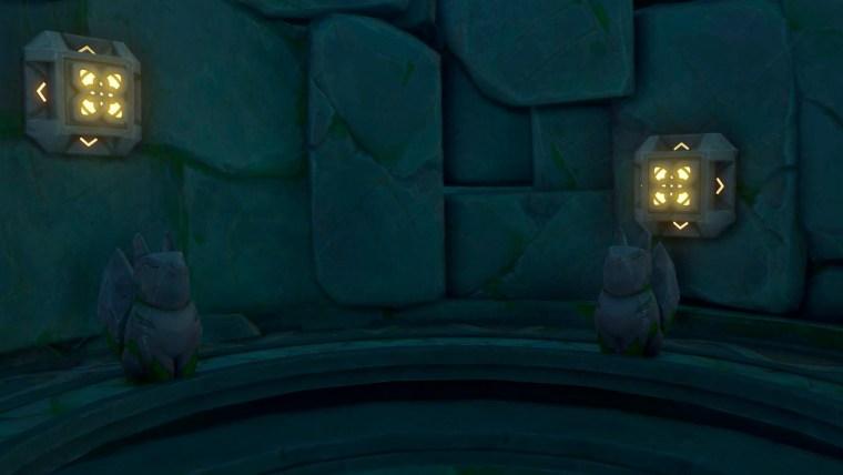 genshin impact - purificación de impurezas - botones que aparecen tras escanear las estatuas kitsune con la lente