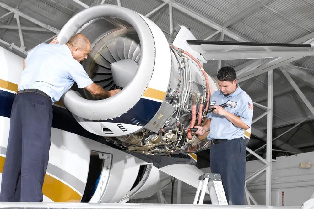 technicians providing learjet maintenance