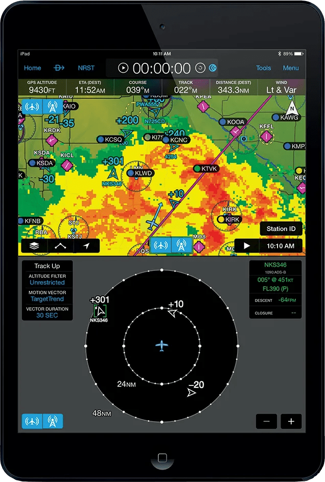 Garmin GTX 345 iPad with weather and traffic