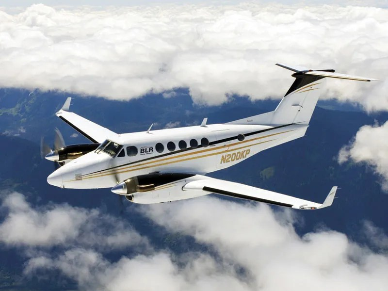 King Air flying above clouds
