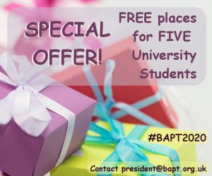 Special offer! 3 free places for students, and #bapt2020