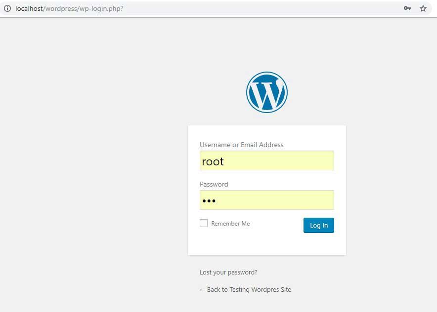 login wp admin