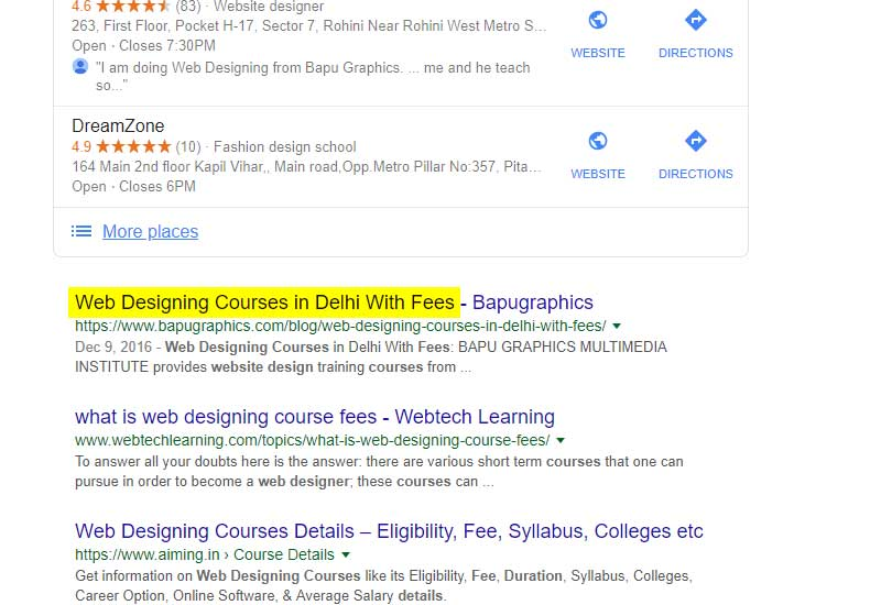 web design course details with fees