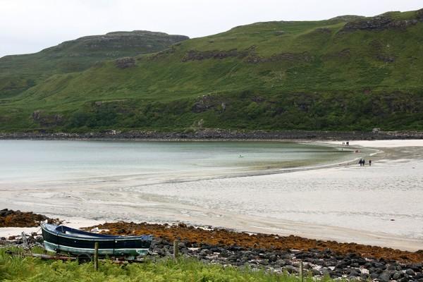 Une plage de sable blanc sur l'Île de Mull en Ecosse