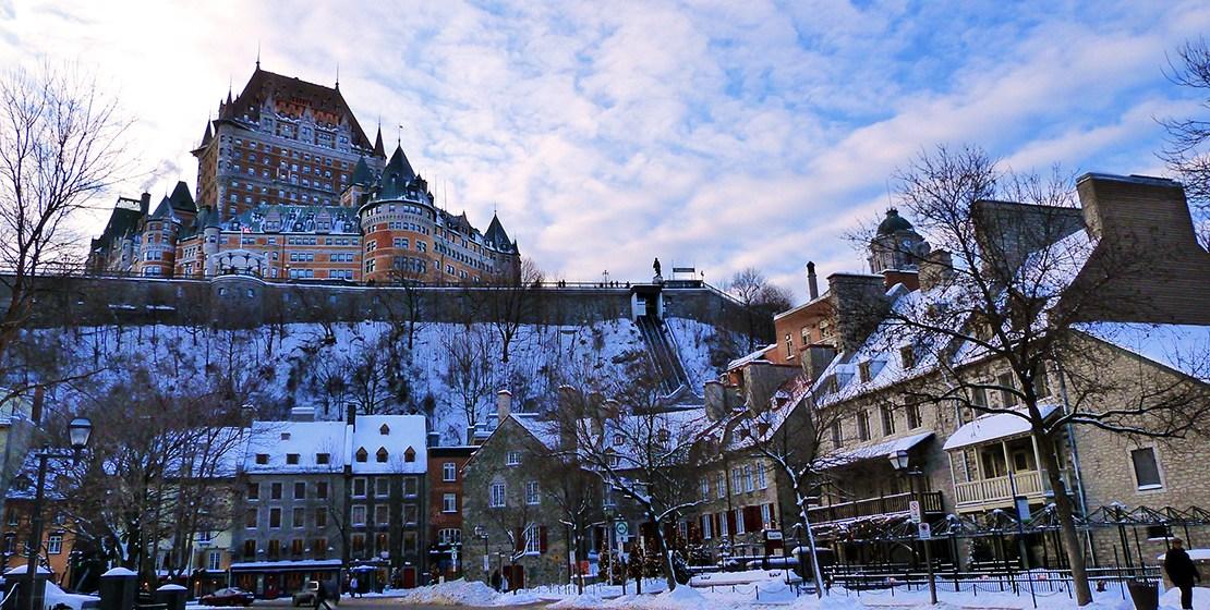 Vue sur le Château Frontenac à Québec en hiver ©Franck/Le Bar à Voyages