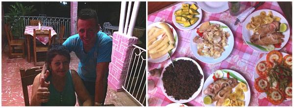 Repas et nos hôtes à la Casa Rosa à Vinales