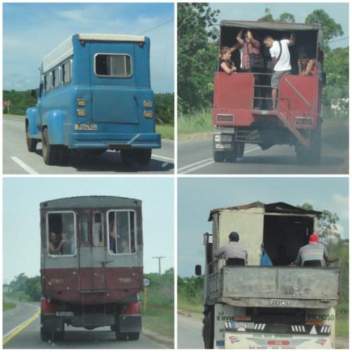 Différents transports en commun à Cuba