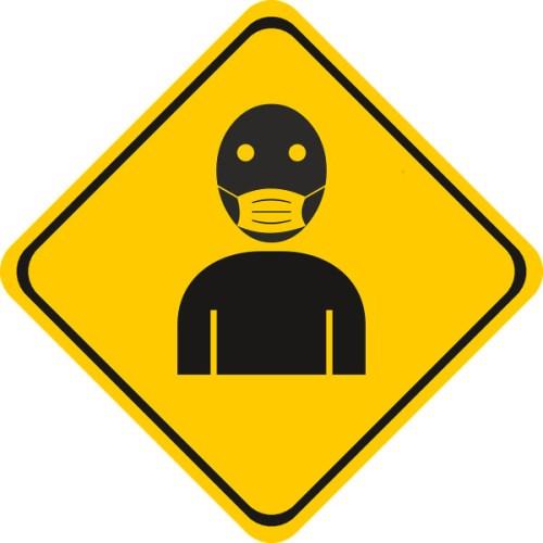 Panneau obligeant à porter un masque antivirus pendant l'épidémie de coronavirus
