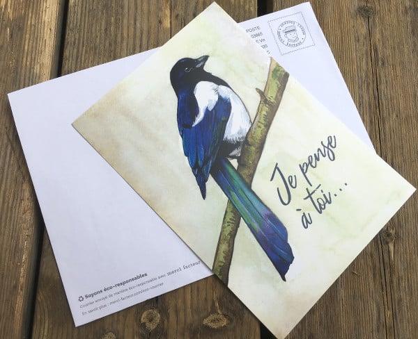 carte postale et enveloppe