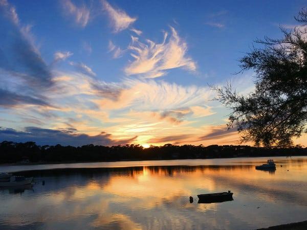 Coucher de soleil sur le lac d'Hossegor