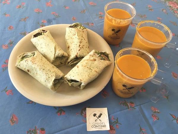 Wraps gourmands et soupes du restaurant Green Cantine à Hossegor