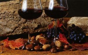 Il vino novello viene di solito abbinato alle castagne