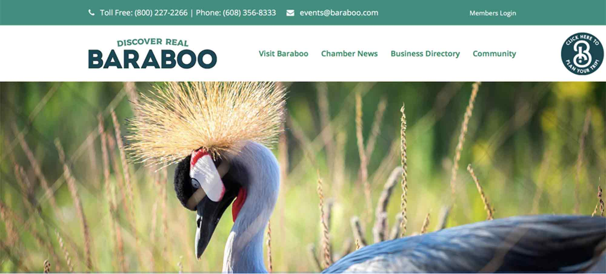 Baraboo Chamber Website Screen Shot