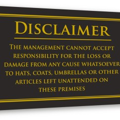 Childrens Play Kitchen Full Personal Property Disclaimer Sign