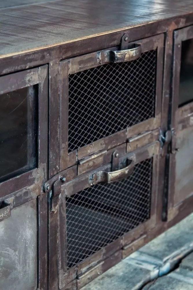 meuble tv industriel bois metal