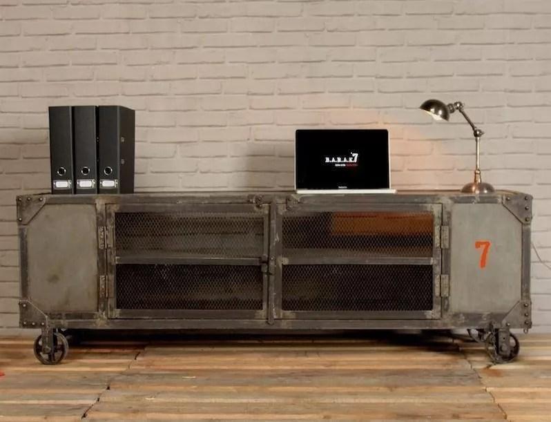 meuble tv industriel naturel