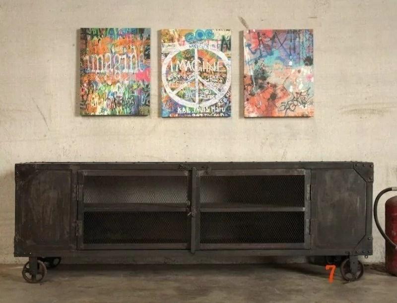 meuble tv industriel carbone