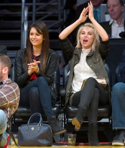 Nina Dobrev (left) and Julianne Hough at the Lakers game.