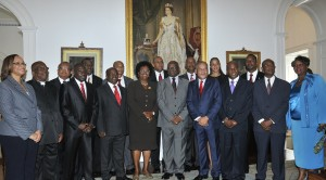 The new Opposition Parliamentary team paused for a photo opportunity with Governor- General, Sir Elliott Belgrave after they took the oaths of office at Government House today.