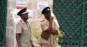 Divisional Fire Officer, Ricardo Gittens (left) and Station Officer, Tyrone Trotman on a fire inspection of Parliament today.