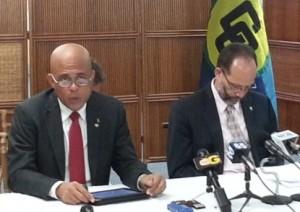 President of Haiti Michel Martelly (left) and CARICOM Secretary General Irwin LaRocque.