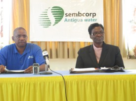 Sembcorp's Operations Manager Ricky Buckley and Communications Consultant Paula Lee at the press conference, yesterday.